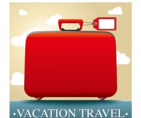 Red suitcase with vacation travel vector
