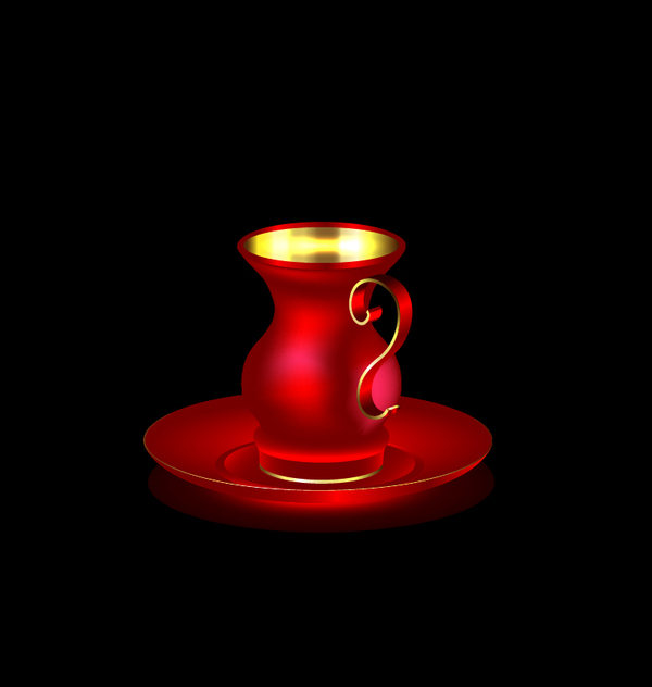 Red with golden coffee cup vector