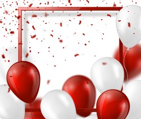 Red with white balloon and frame vector background