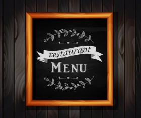 Restaurant menu frame with wooden background vector 01