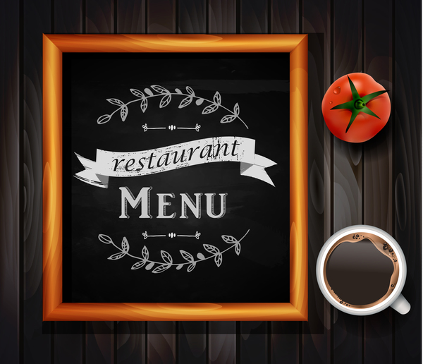 restaurant menu frame with wooden background vector 02