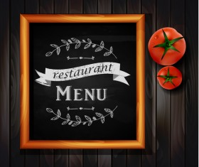 Restaurant menu frame with wooden background vector 03