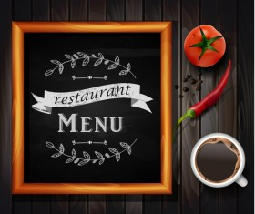 Restaurant menu frame with wooden background vector 04