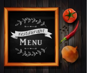 Restaurant menu frame with wooden background vector 05