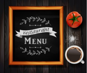 Restaurant menu frame with wooden background vector 06