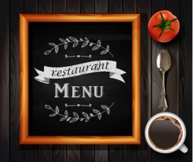 Restaurant menu frame with wooden background vector 07