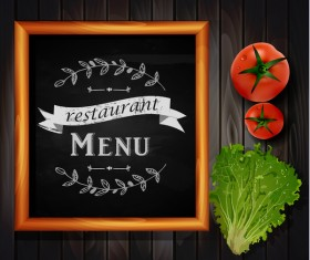 Restaurant menu frame with wooden background vector 08