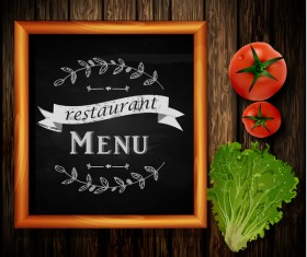 Restaurant menu frame with wooden background vector 09