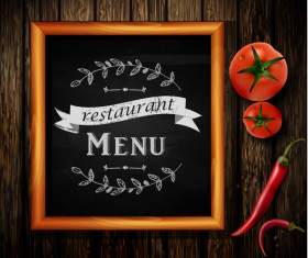 Restaurant menu frame with wooden background vector 10