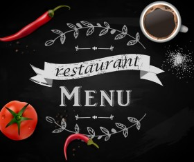 Restaurant menu with chalkboard background vector 02
