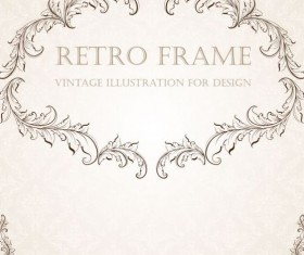 Retro frame vintage illustration vector 03