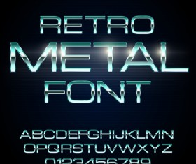 Retro metal alphabet with number shiny vector