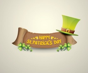 Retro saint patricks day labels vector 01