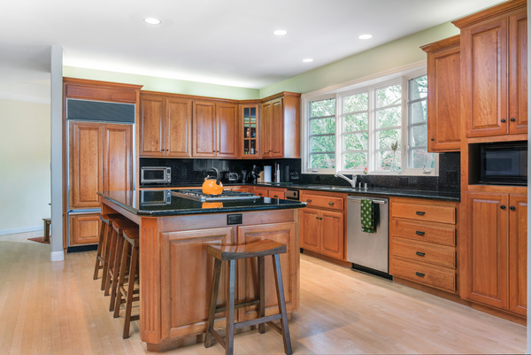 retro wooden kitchen hanging cabinet stock photo 03 free