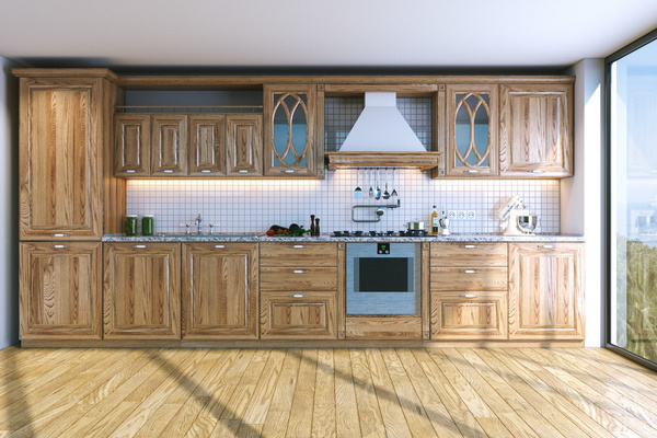 Retro wooden kitchen hanging cabinet Stock Photo 05 ...