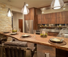 Retro wooden kitchen hanging cabinet Stock Photo 08