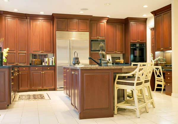 Retro wooden kitchen hanging cabinet Stock Photo 09