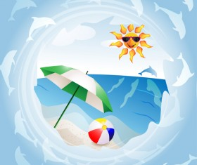 Round summer travel background vectors 01