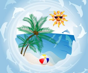 Round summer travel background vectors 02