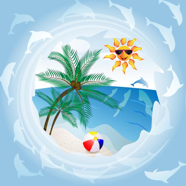 Round summer travel background vectors 02