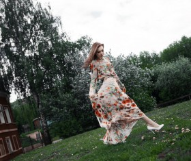 Russian floral dress beauty Stock Photo