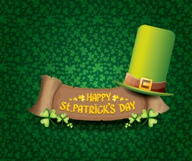 Saint patricks day retro banners with hat and green leaves pattern vector 01