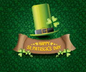 Saint patricks day retro banners with hat and green leaves pattern vector 03