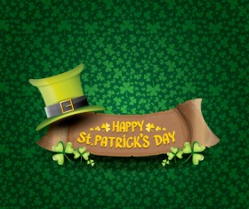 Saint patricks day retro banners with hat and green leaves pattern vector 04