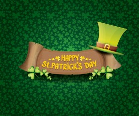 Saint patricks day retro banners with hat and green leaves pattern vector 06