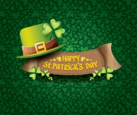 Saint patricks day retro banners with hat and green leaves pattern vector 07