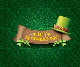 Saint patricks day retro banners with hat and green leaves pattern vector 08