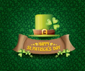Saint patricks day retro banners with hat and green leaves pattern vector 09