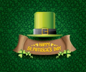 Saint patricks day retro banners with hat and green leaves pattern vector 10