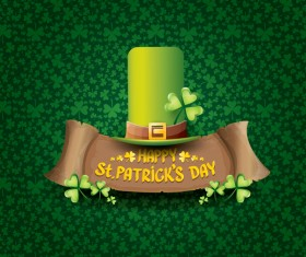 Saint patricks day retro banners with hat and green leaves pattern vector 11