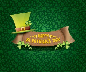 Saint patricks day retro banners with hat and green leaves pattern vector 12