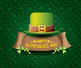 Saint patricks day retro banners with hat and green leaves pattern vector 13