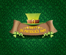 Saint patricks day retro banners with hat and green leaves pattern vector 14