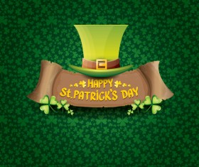 Saint patricks day retro banners with hat and green leaves pattern vector 15