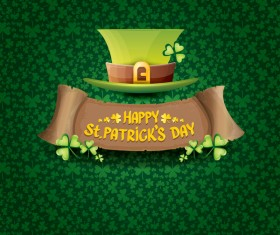 Saint patricks day retro banners with hat and green leaves pattern vector 16