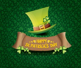 Saint patricks day retro banners with hat and green leaves pattern vector 17