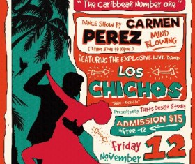 Salsa club flyer vintage PSD template