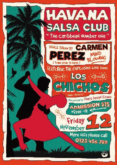 Salsa club flyer vintage PSD template