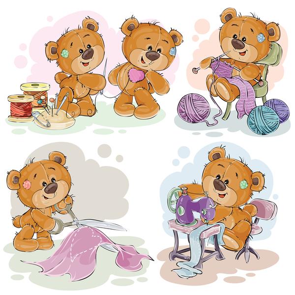 Set of cute teddy dear vector material 01