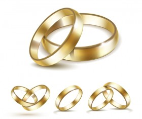 Shining gold ring vector set 01