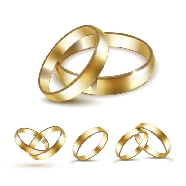 Shining gold ring vector set 01