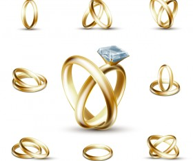 Shining gold ring vector set 02