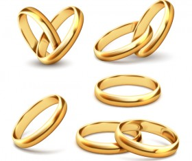 Shining gold ring vector set 03