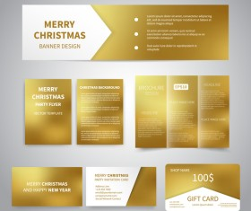 Shiny golden gift card with brochure cover and banner vector