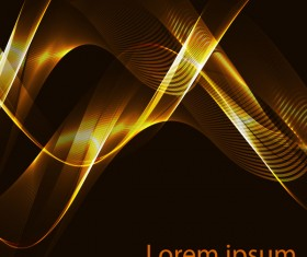 Shiny golden light wavy with black background vector 05