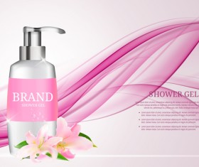 Shower gel poster with abstract background vector 02